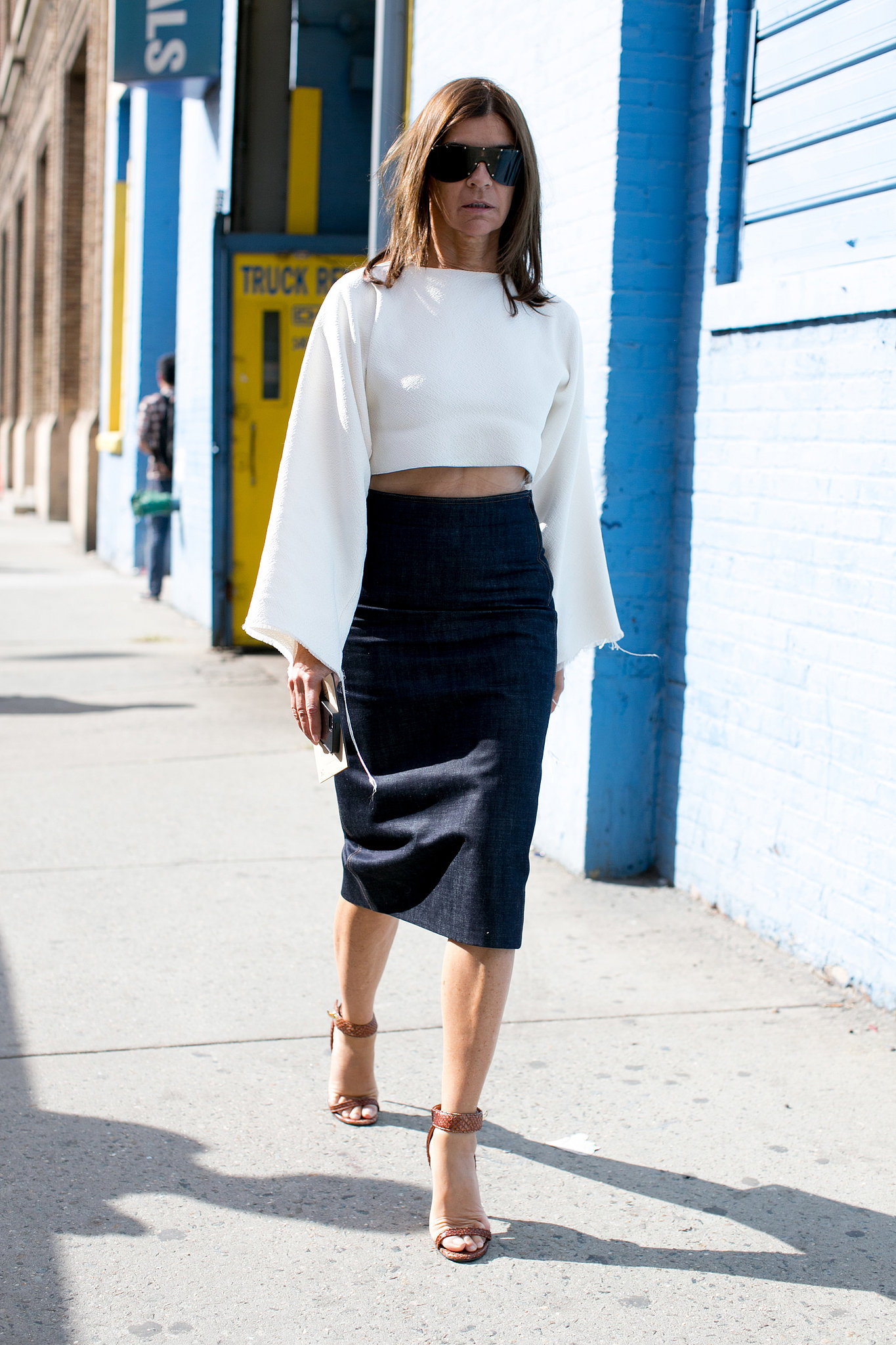 Even Carine Roitfeld Bared Her Midriff Street Style