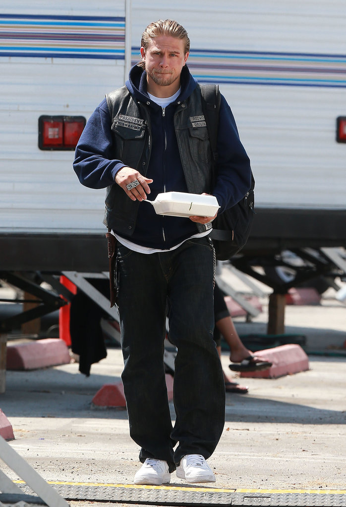 Charlie Hunnam hit the set of Sons of Anarchy in LA.