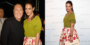 Katie Holmes Makes a Colourful Cameo at NYFW