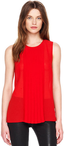 MICHAEL Michael Kors  Pleated-Panel Sleeveless Top
