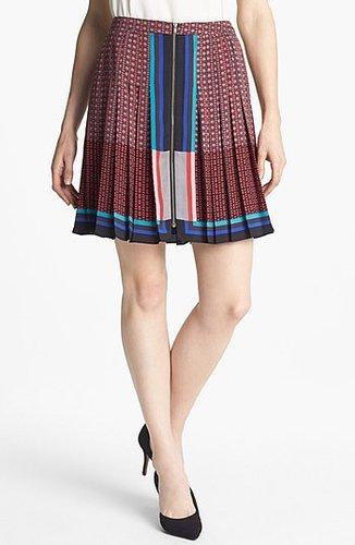 Halogen® Front Zip Pleat Print Skirt