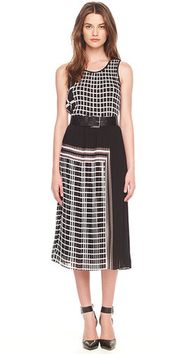 Michael Kors Mixed-Print Pleated Dress