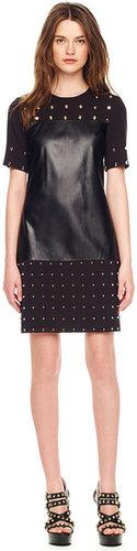 Michael Kors Leather-Center Studded Dress