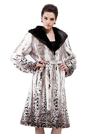 Marguerite/faux pattern fox fur with black mink fur/long fur coat - New Products