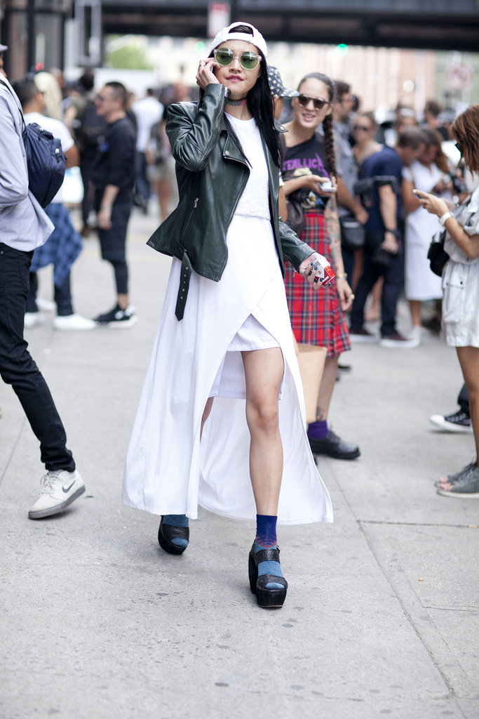 Platforms and socks lend a little quirk to crisp black-and-white look.