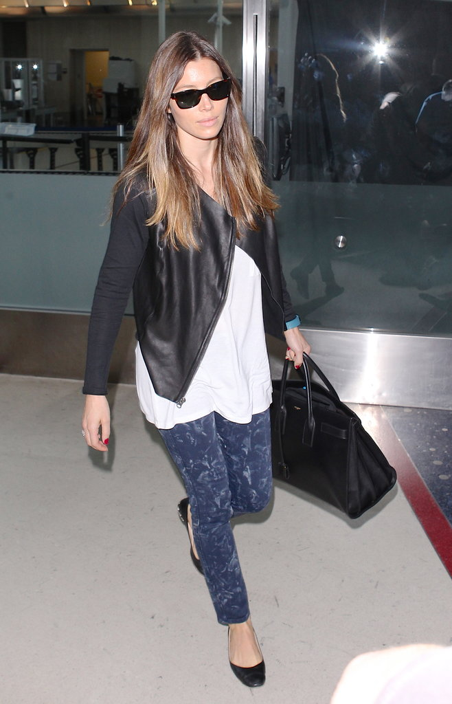 Jessica Biel arrived at LAX looking cool as ever in marbled denim, a black leather Michael Stars jacket ($348), and ballet flats.