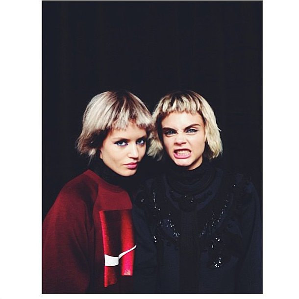 Georgia May Jagger and Cara Delevingne got wiggy for the Marc Jacobs runway. Source: Instagram user georgiamayjagger
