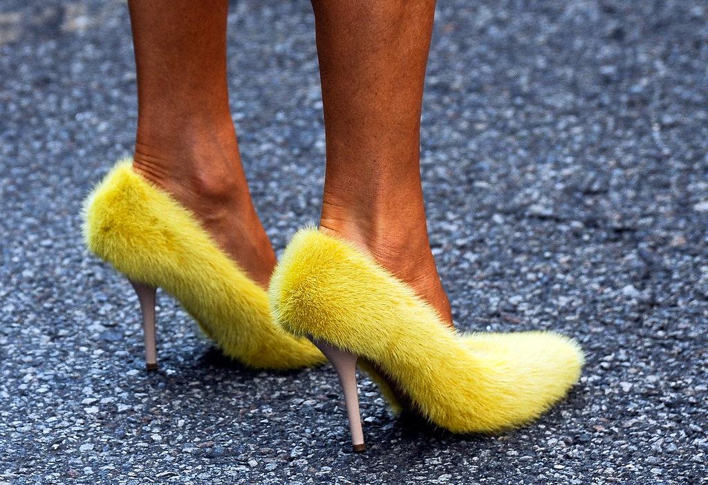 Big Bird? Nope, that's Anna Dello Russo in Céline's fuzzy yellow pumps.