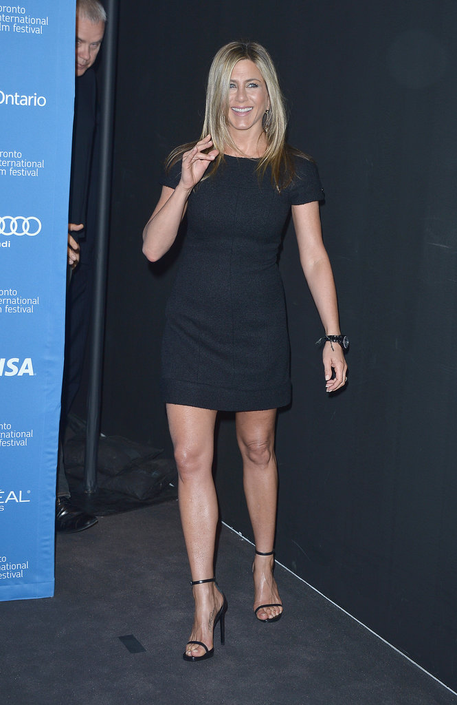Jennifer Aniston wore an LBD for the press conference for her film, Life of Crime, in Toronto.