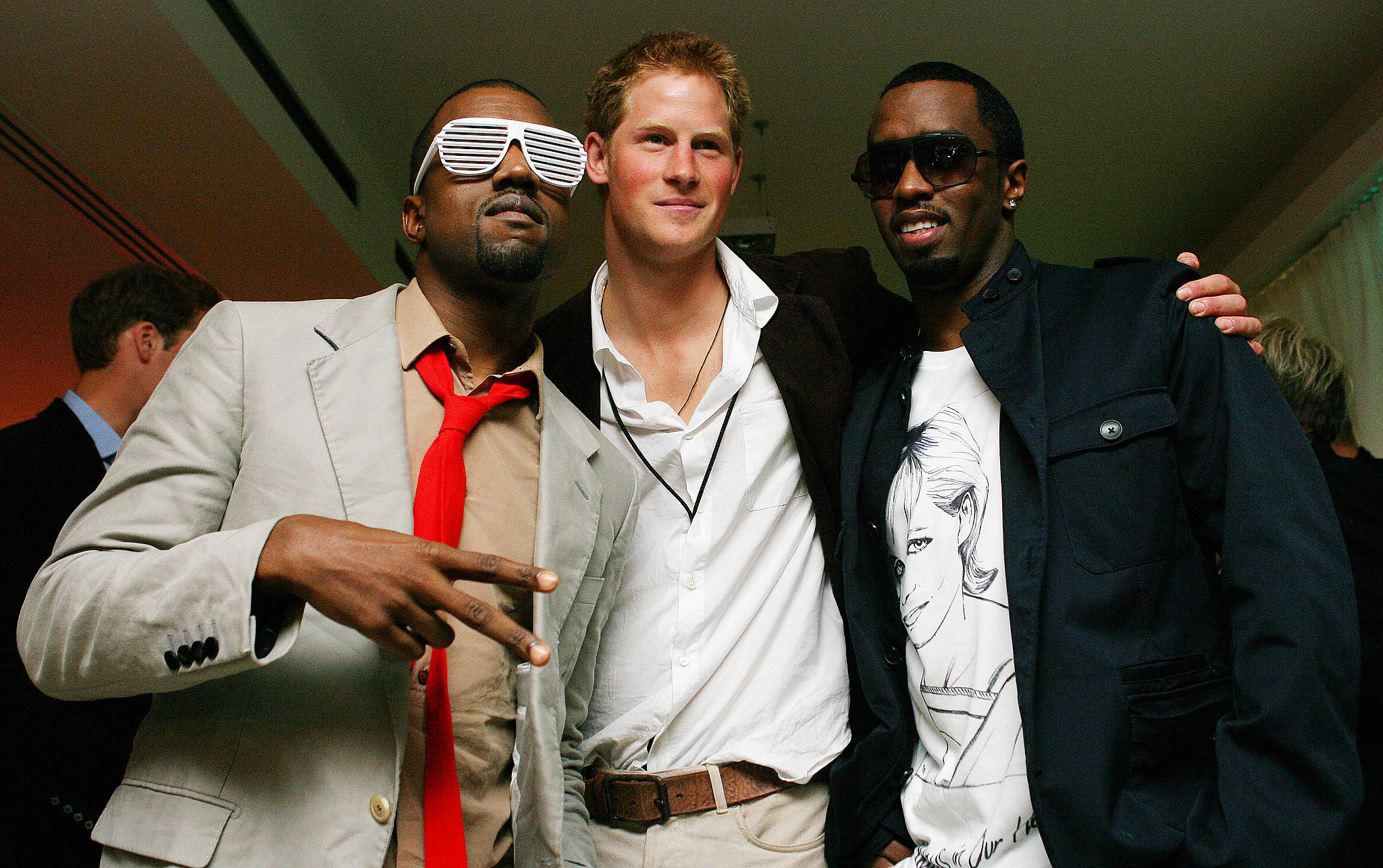 Prince Harry posed with Diddy and Kanye West at Wembley Arena after the tribute concert for Princess Diana in 2007.