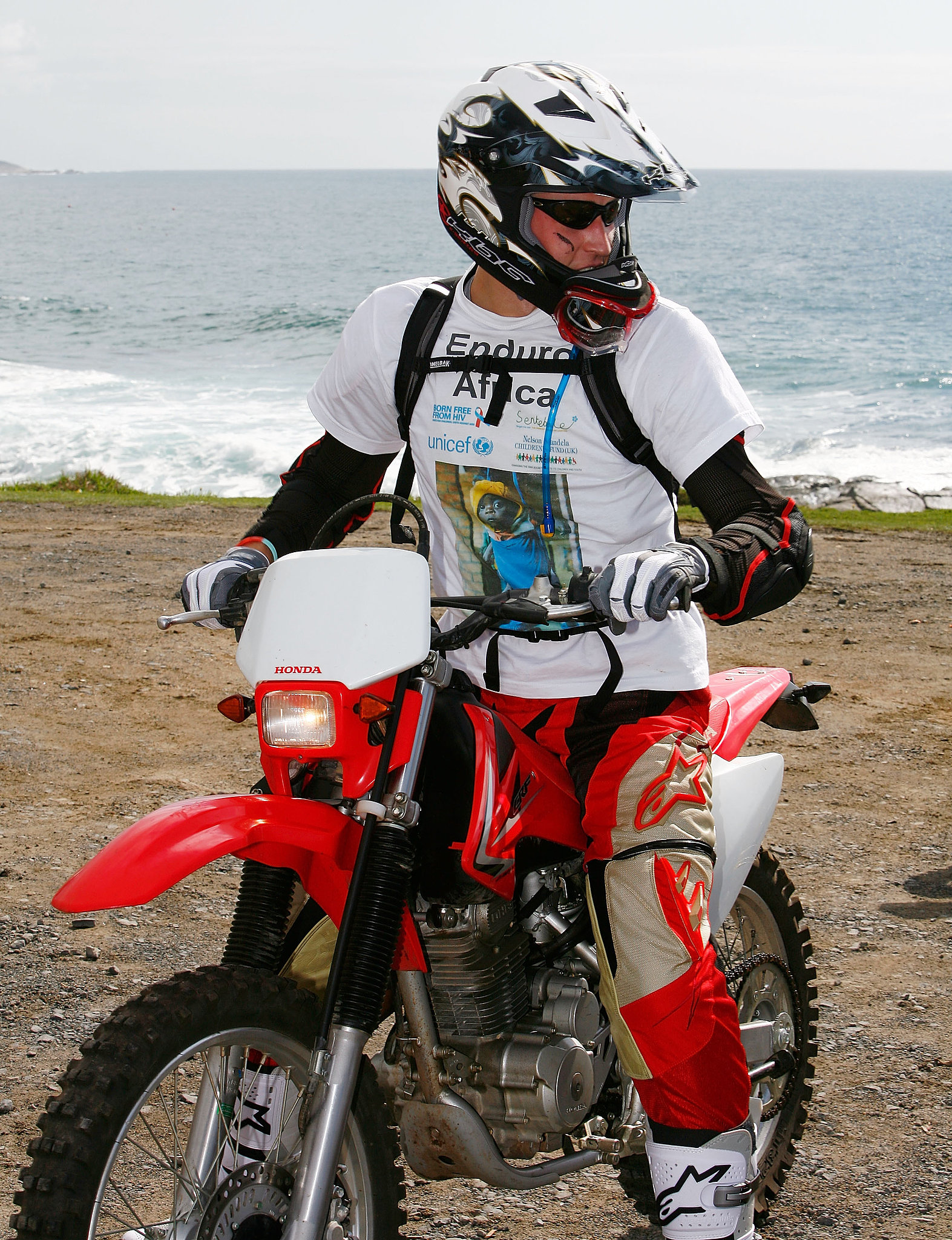 Prince harry hopped on a dirt bike in South Africa in October 2008.