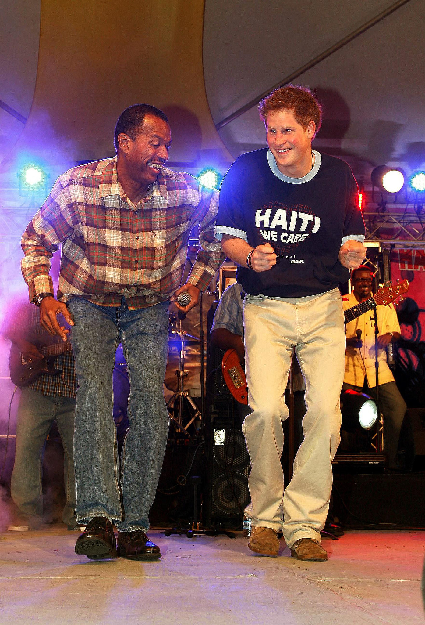 Prince Harry got on stage to show off his moves during a visit to Barbados in January 2010.