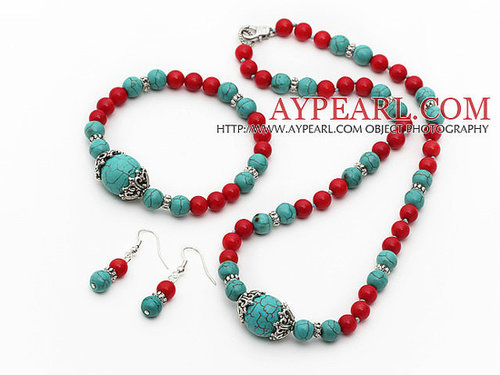 Turquoise and Red Coral Set ( Necklace Bracelet and Matched Earrings )