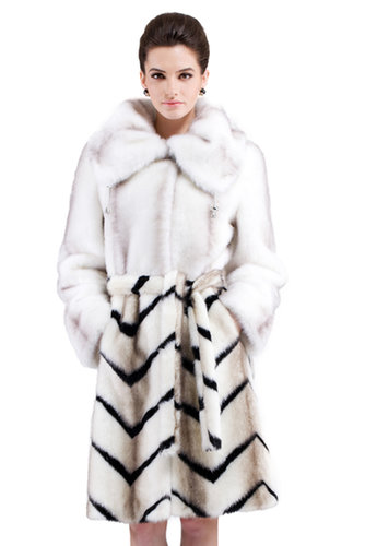 Laura/faux white mink fur with black and brown gray strips/long fur coat - New Products