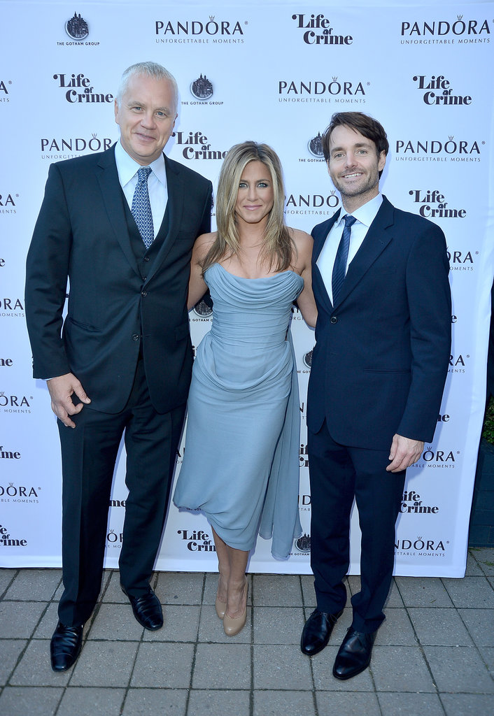 Jennifer Aniston, Tim Robbins, and Will Forte celebrated their film, Life of Crime, at a cocktail party in Toronto.