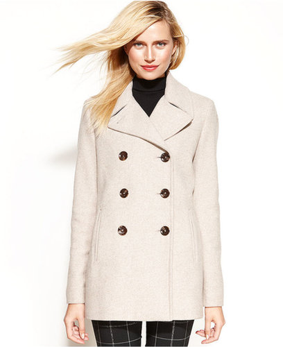 Calvin Klein Coat, Wool-Cashmere-Blend Pea Coat