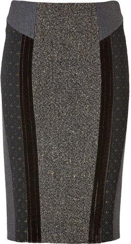 Etro Wool-Cotton Blend Patchwork Pencil Skirt