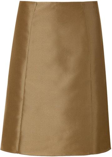 Jil Sander Navy Silk Blend Skirt