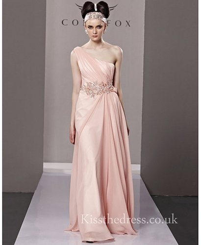 Sweet Pink Chiffon One Shoulder Long Prom Dress CYH81303