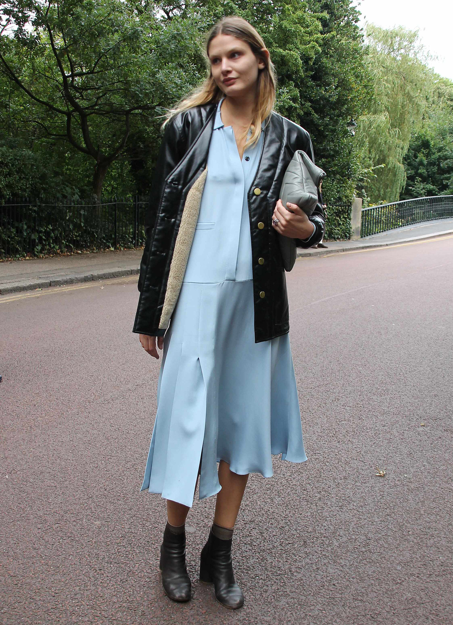 We love how this pale blue softened up her black leather pieces. Source: Hannah Freeman