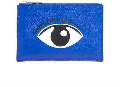 Kenzo Embroidered eye leather pouch