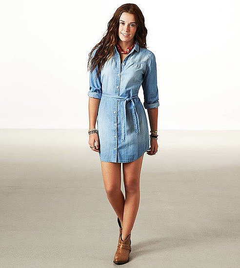 Add neutral ankle boots to this American Eagle studded chambray shirtdress ($50) for an easy everyday outfit.