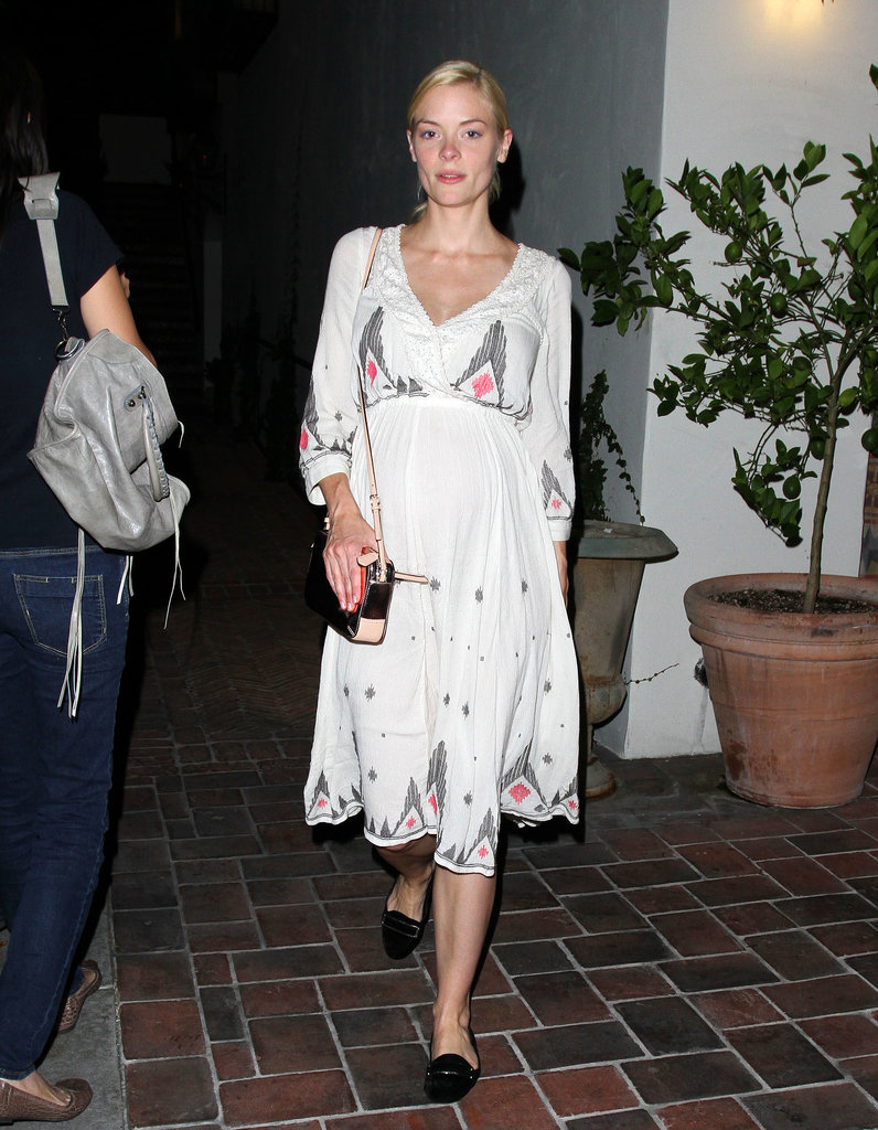 Jaime spent a fashionable night out in a flowy dress with black loafers.