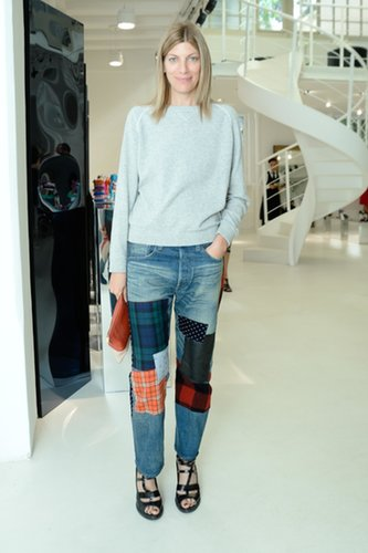 Virginia Smith sported patchy pants at the Brian Atwood Spring presentation in Milan.