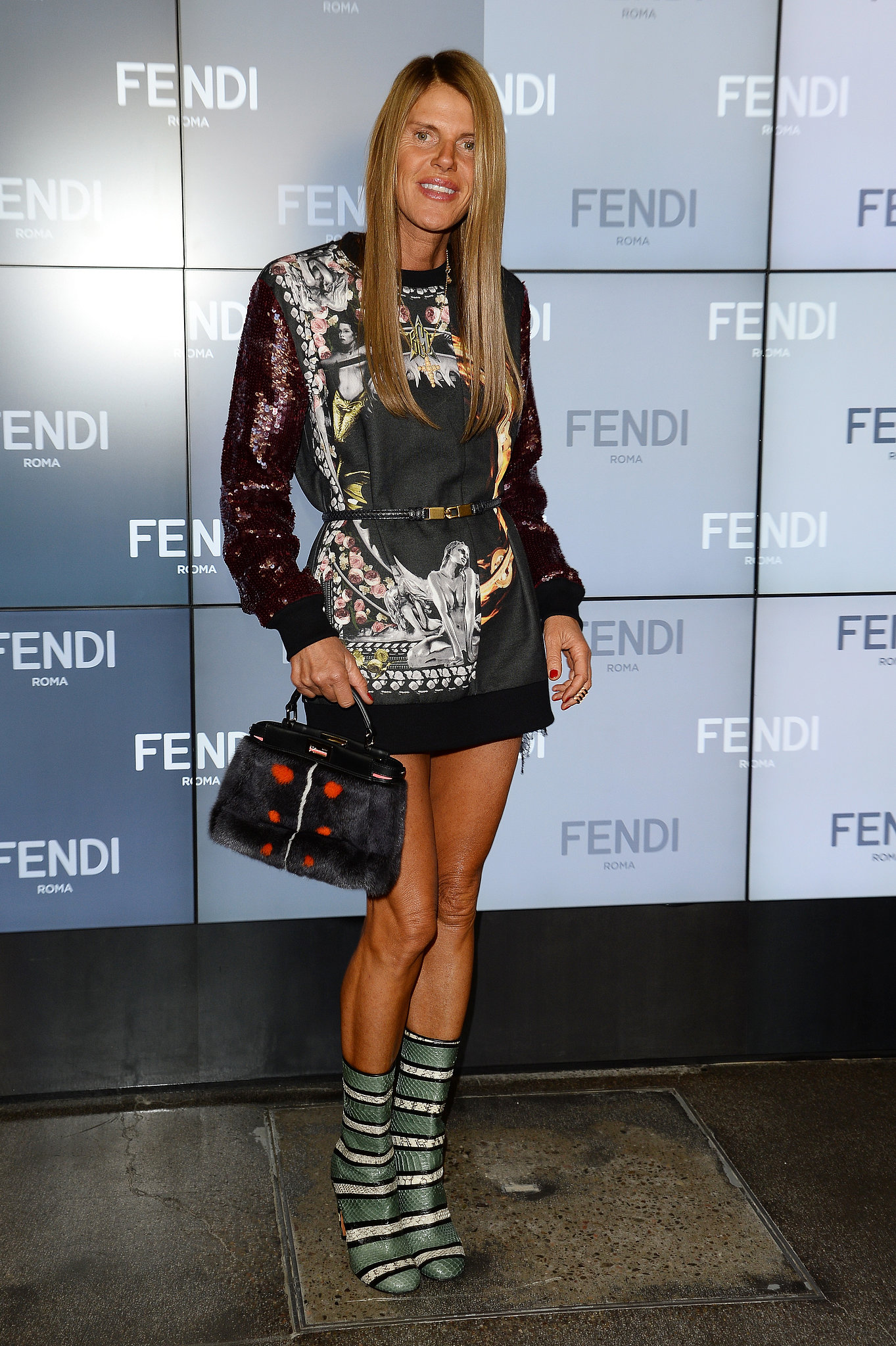 Anna Dello Russo mixed and matched like a pro in her bold ...