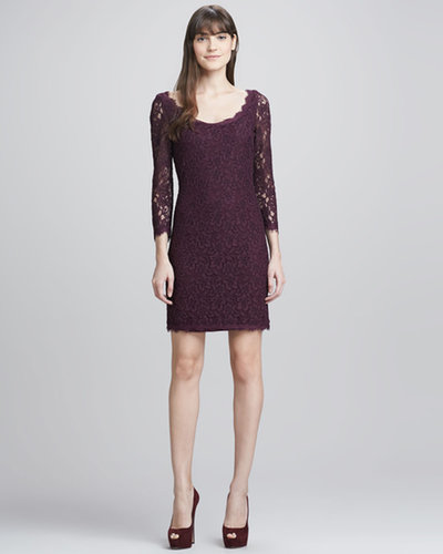 Diane von Furstenberg Zarita Scoop-Neck Short Lace Dress, Plum