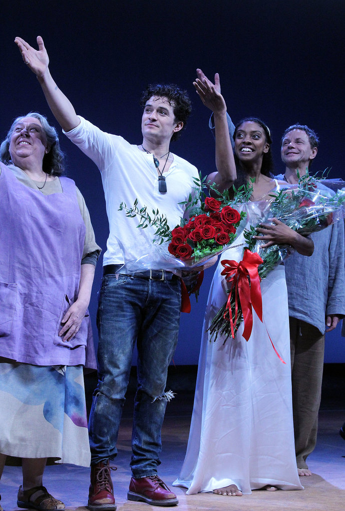 Orlando Bloom and Condola Rashad were showered with flowers.