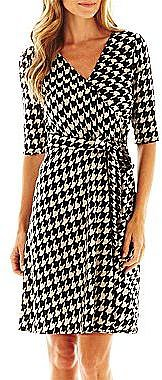 Studio 1® Faux-Wrap Houndstooth Dress