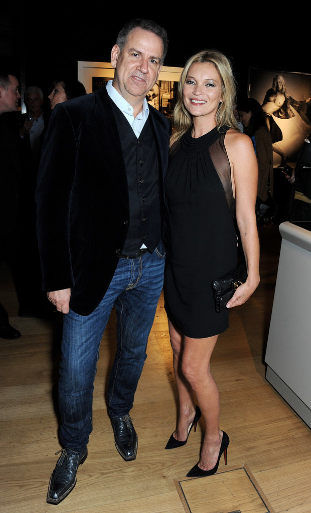 Kate Moss posed with the exhibition's curator, Gert Elfering.