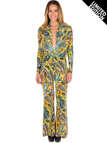 Clothing :: Jumpsuits :: V Front Printed Flare Leg Jumpsuit - Ice - Fashion for the Future