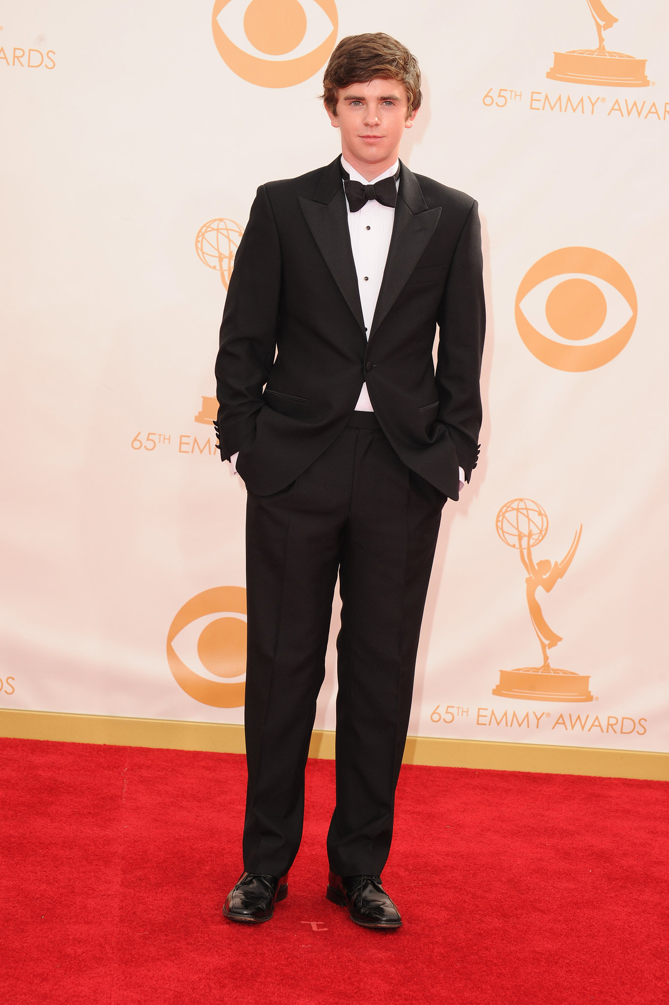 Actor Freddie Highmore suited up for the Emmys.