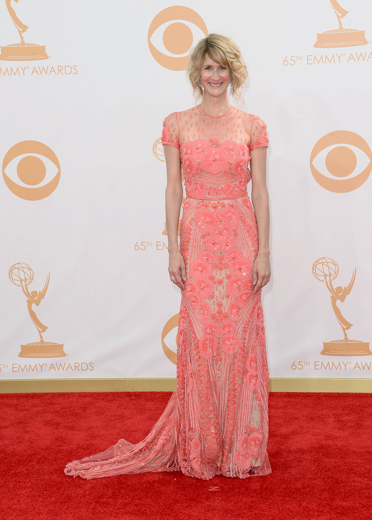 A coral lace Naeem Khan dress from Spring 2014 was the ticket for Laura Dern. She kept the color scheme going with a rose gold Dionea Orcini ring.
