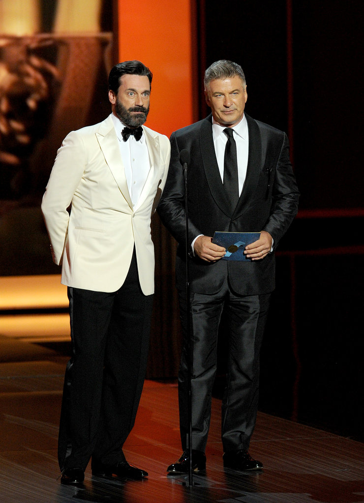 Jon Hamm and Alec Baldwin hit the Emmys stage together to present.