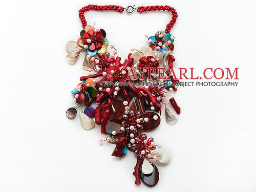 Elegant and Big Style Red Coral and Multi Color Shell Flower Party Necklace