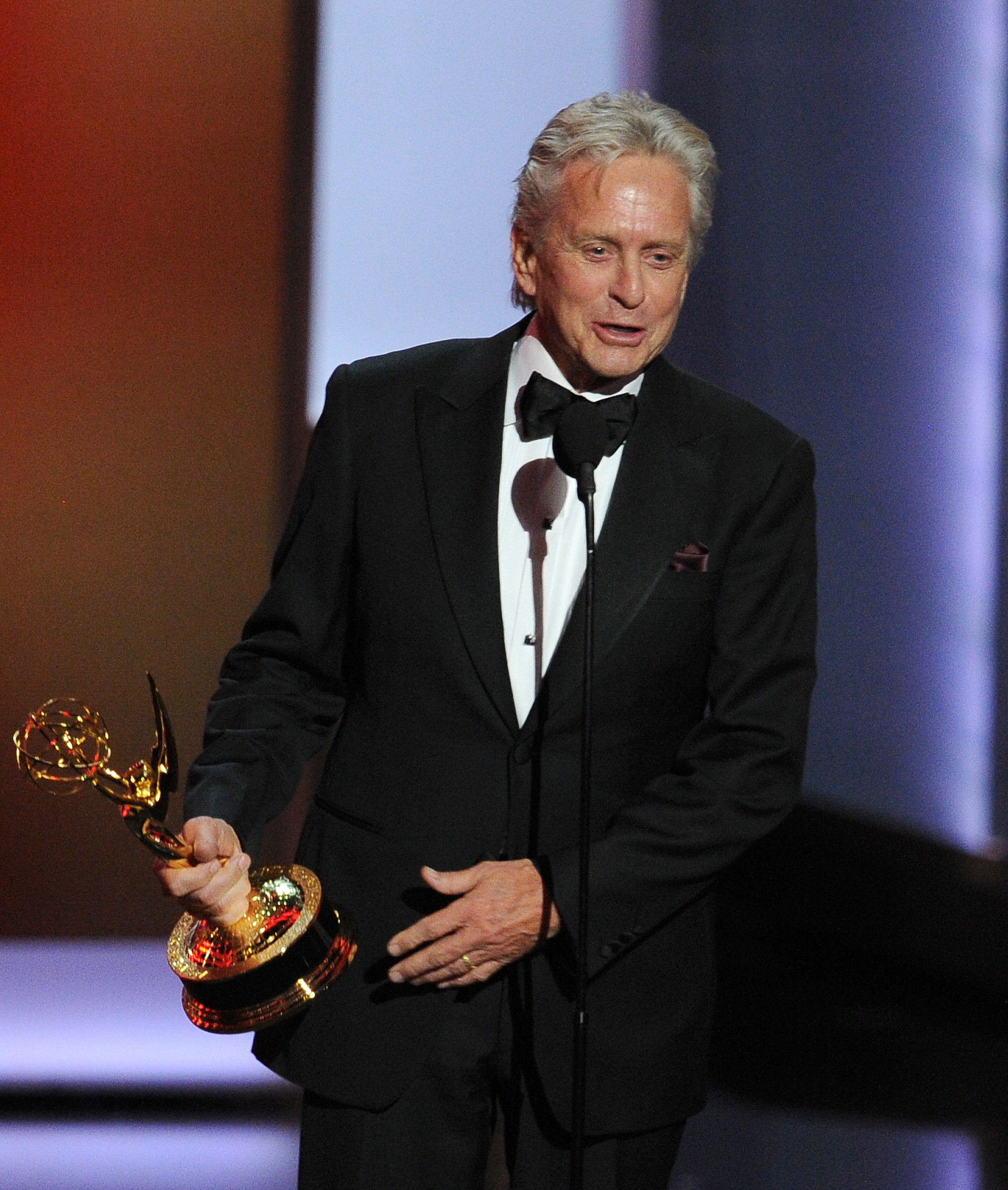 Michael Douglas accepted the award for his role in Behind the Candelabra, thanking his costar Matt Damon.