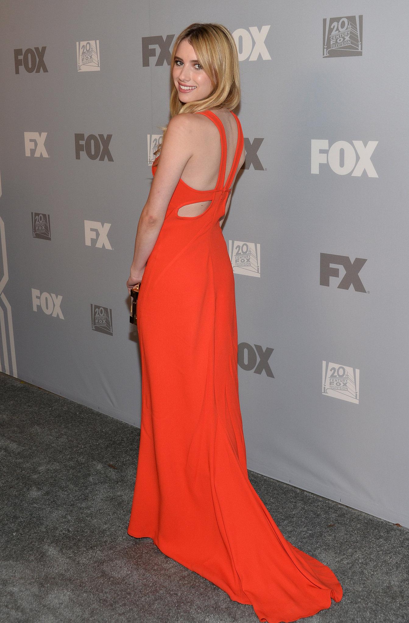 Emma Roberts showed off the back of her dress.