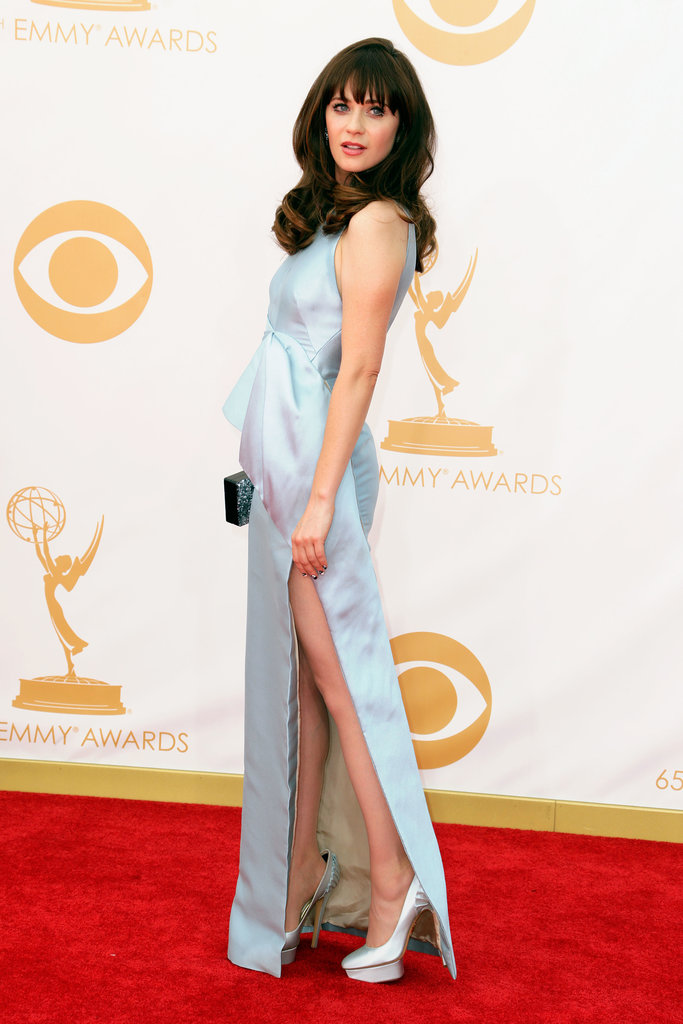 Zooey showed a bit of skin with her high slit.