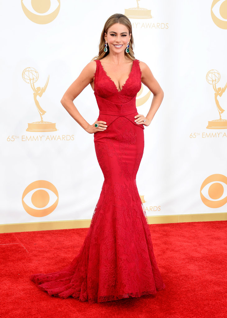 Modern Family actress Sofia Vergara sure knows how to turn heads. The brunette beauty wore a curve-hugging, crimson red Vera Wang gown and emerald green accessories.