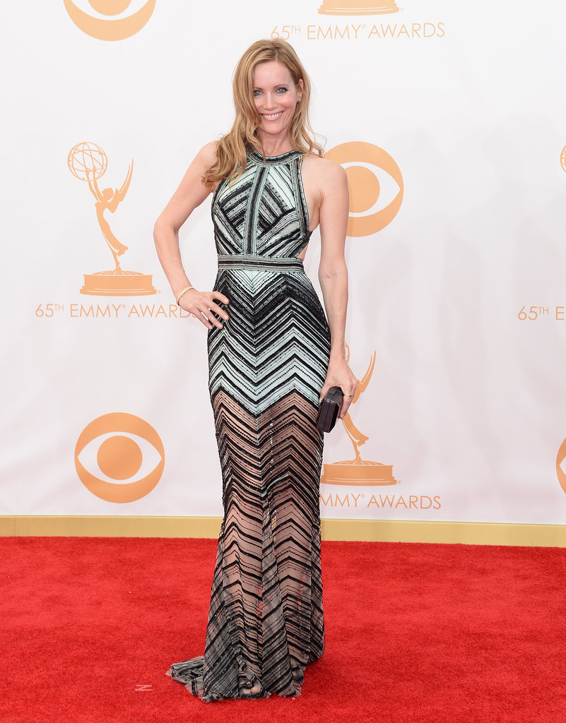 Leslie Mann's black and white gown dabbled in geometric patterns and plenty of sheer.
