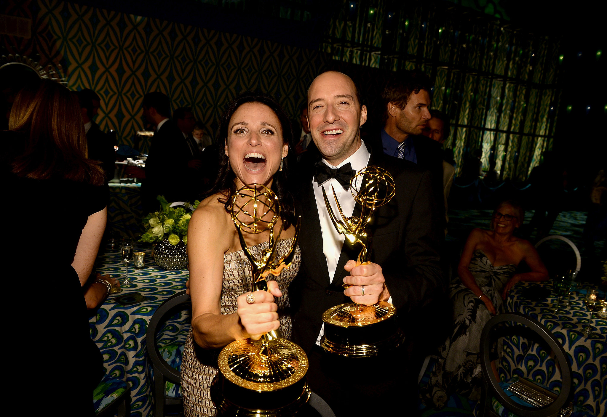 Julia Louis-Dreyfus and Tony Hale got excited about their awards at the 2013 HBO Emmys afterparty.