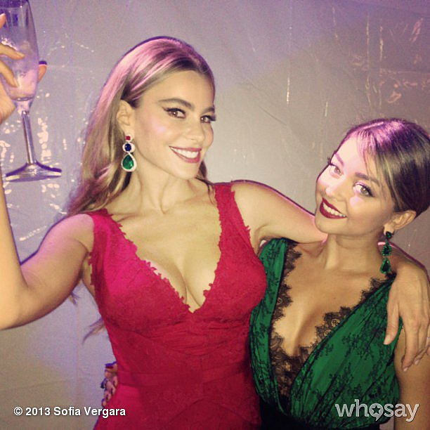 Sofia Vergara celebrated Modern Family's win with Sarah Hyland. Source: Instagram user sofiavergara