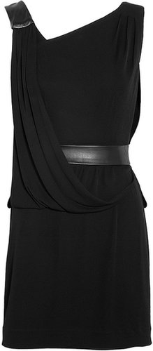 Iris Leather Panel Draped Dress by Milly