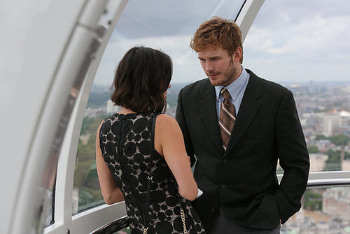 Andy and April share a romantic moment while riding the London Eye.