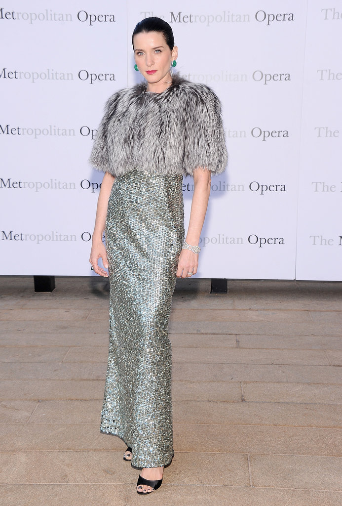 Michele Hicks was radiant in a sparkling column that she layered with a furry topper.