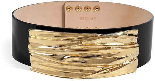 Balmain Leather Belt in Gold/Black