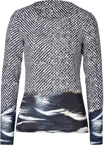 Roberto Cavalli Viscose Stretch Printed Top in Black/Light Grey